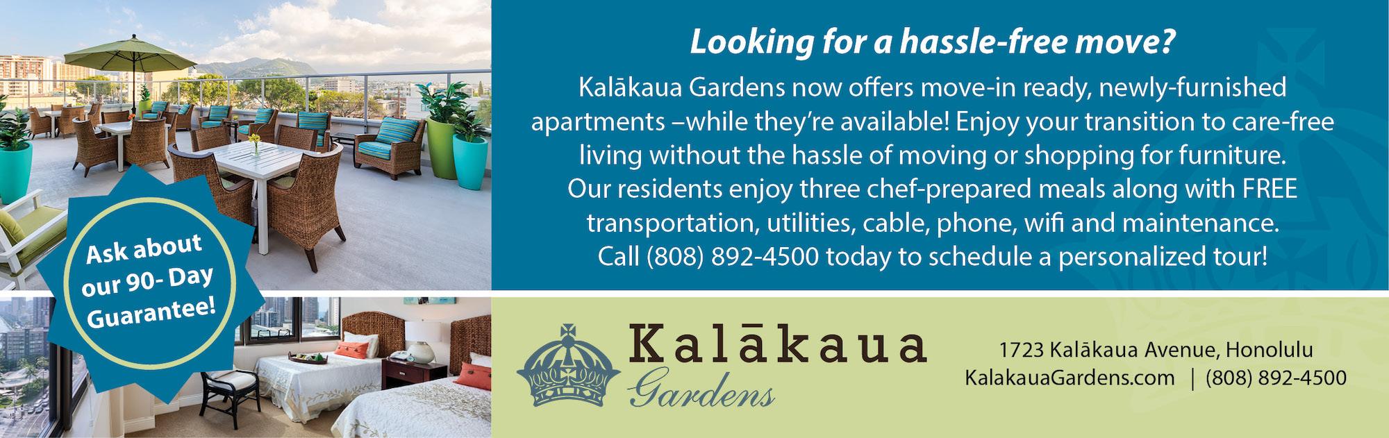 Kalākaua Gardens Hassle Free Move Furnished Rooms Senior Living Available